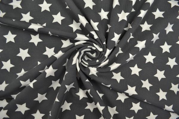 Baumwolljersey Sterne, dunkelgrau