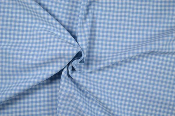 Baumwollstoff Zefir Vichy Karo, 0,5 cm, hellblau