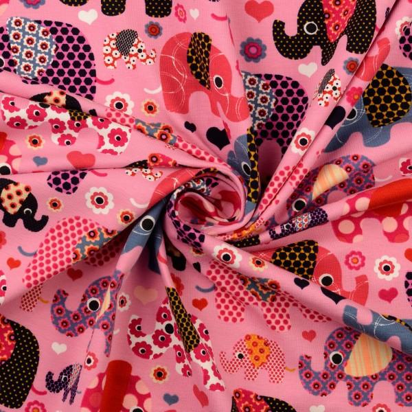 Baumwolljersey gemustert, Elefanten, pink