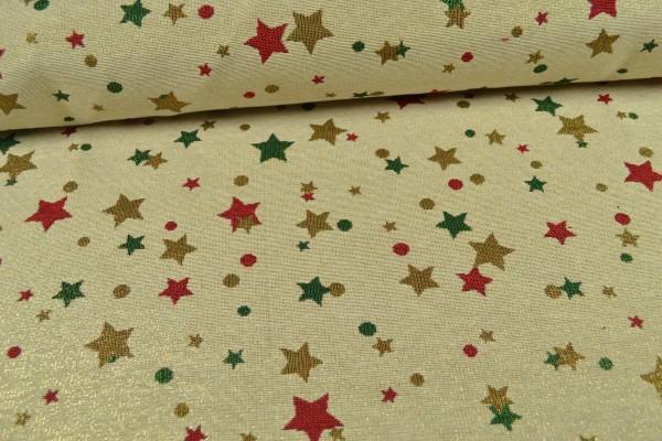 Gobelin Weihnachtsstoff, Sterne mit Glitzer