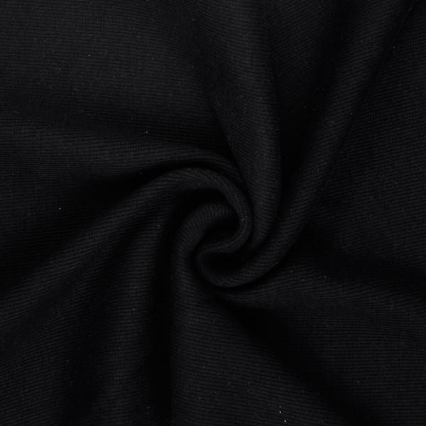 Bündchenstoff gerippt uni, schwarz