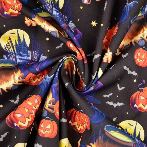 Baumwollstoff Popeline Halloween-Tanz, schwarz