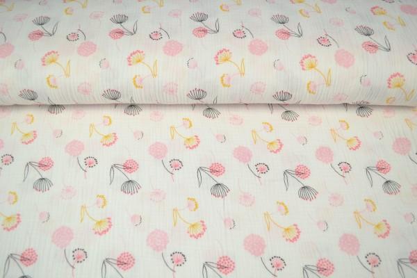 Baumwoll Musselin Double Gauze bedruckt, Pusteblume pink/ gelb