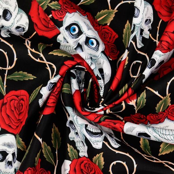 Baumwollstoff gemustert, Totenkopf mit Rosen, schwarz