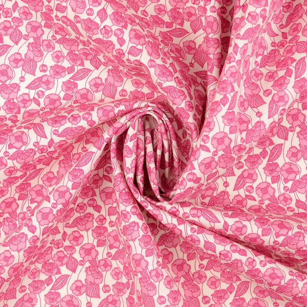 Baumwollstoff Popeline Florales Muster, rosa