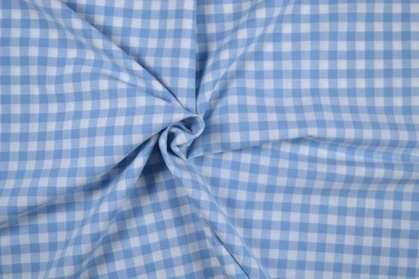 Baumwollstoff Zefir Vichy Karo, 0,9 cm, hellblau