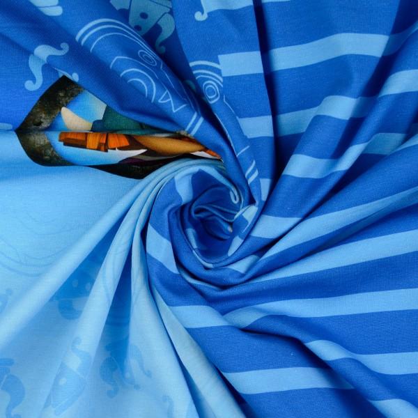 Baumwolljersey Panel Wickie und die starken Männer, blau