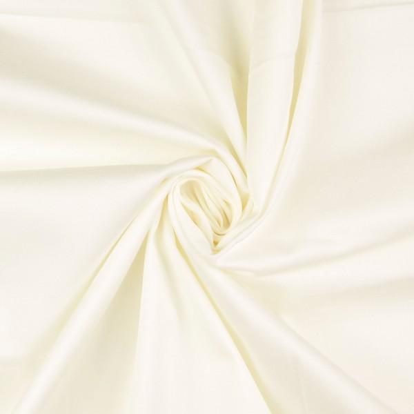 Baumwollsatin elastisch uni, creme/weiß