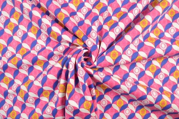 Sweat Shirt Stoff gemustert Blumen, pink
