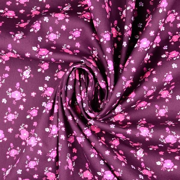 Baumwollstoff Popeline Rosen, lila
