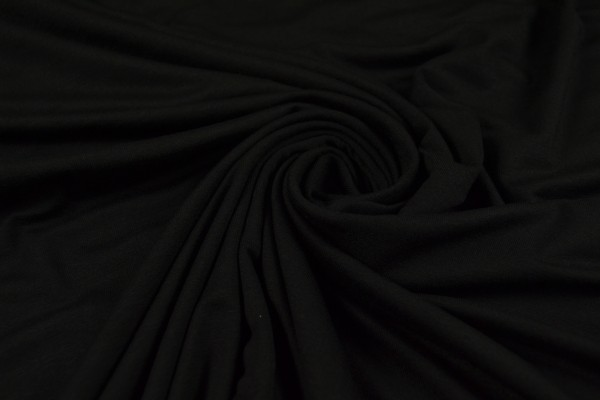 Viskosejersey uni, schwarz