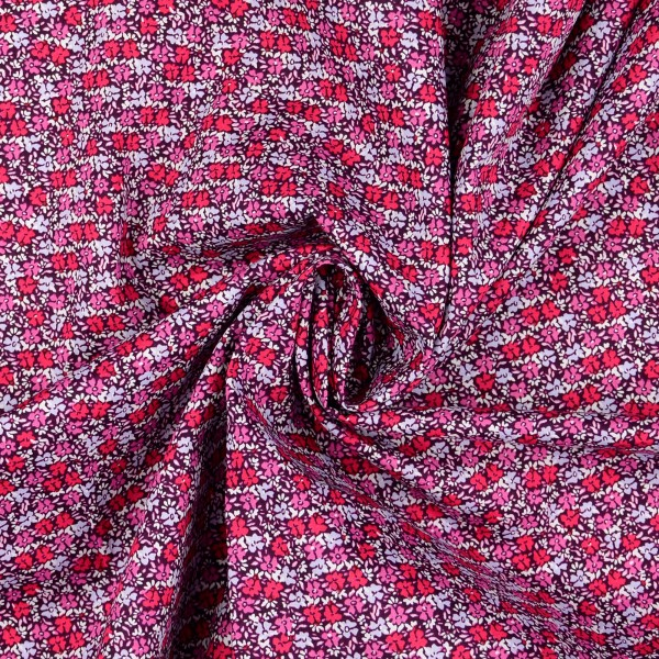 Baumwollstoff Popeline Blumen, rot
