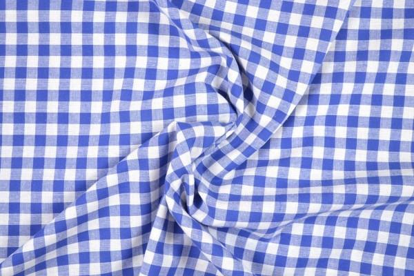 Baumwollstoff Zefir Vichy Karo, 0,9 cm, blau