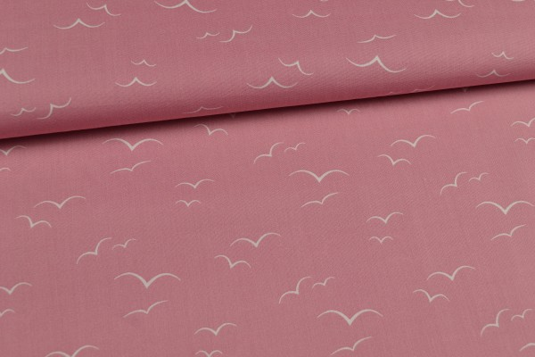 Baumwolle gemustert, in rosa mit Möwen