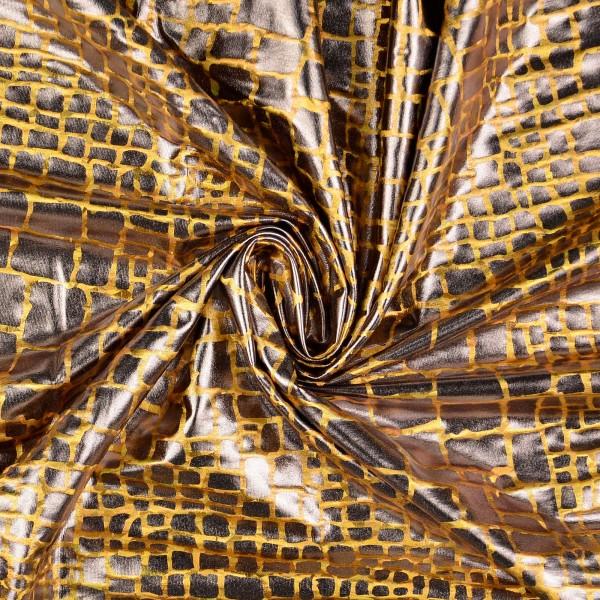 Elastic Folienjersey Krokodil, gold
