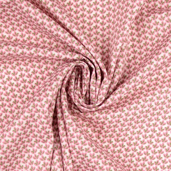 Baumwollstoff Popeline leaves, rosa