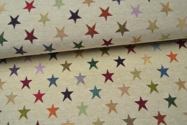 Gobelin Möbelstoff, mit bunten Sternen