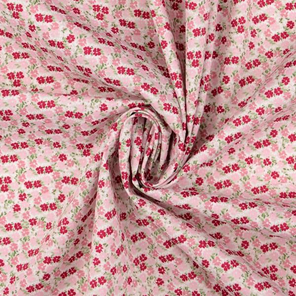 Baumwollstoff Popeline Blumen, rosa