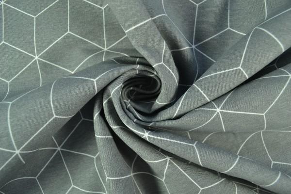 Canvas Deko Stoff geometrisches Muster, grau