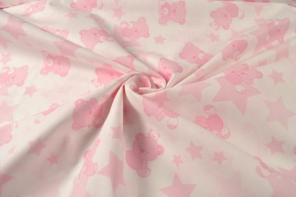 Baumwollstoff gemustert Bärchen, rosa