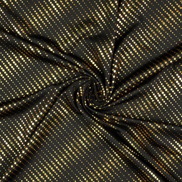 Elastic Folienjersey Pailletten, schwarz/gold