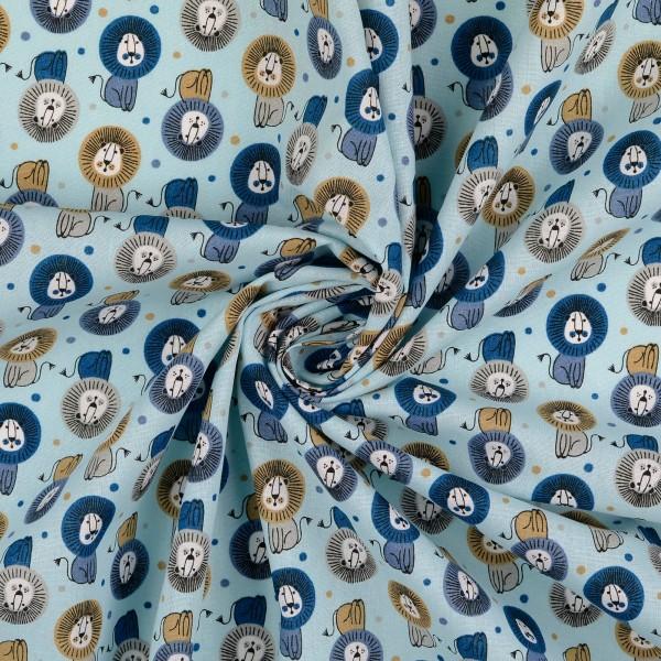 Baumwollstoff gemustert, Löwen blau/ hellblau