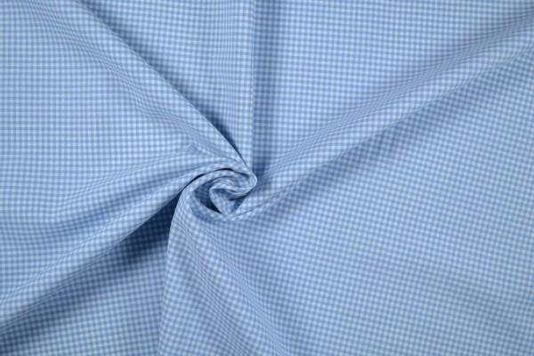 Baumwollstoff Zefir Vichy Karo, 0,25 cm, hellblau