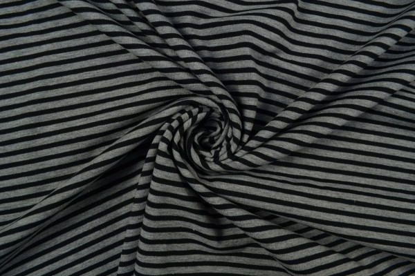 Baumwolljersey gestreift, schwarz/ grau meliert