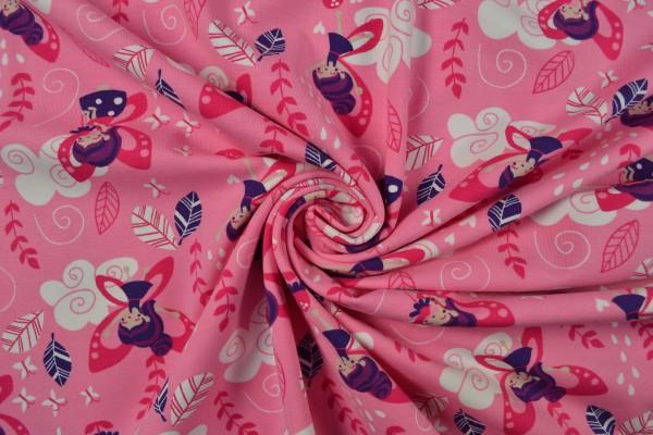 Baumwolljersey gemustert, Flower Fairy, rosa