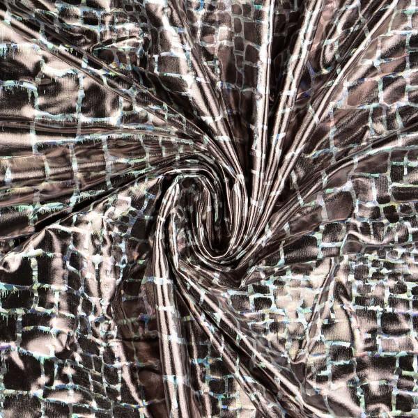 Elastic Folienjersey Krokodil, silber