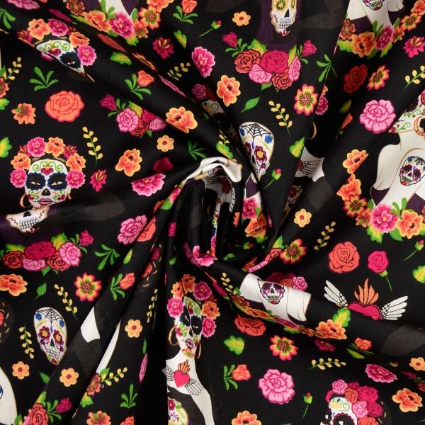 Baumwollstoff Popeline Lady Muertos, schwarz