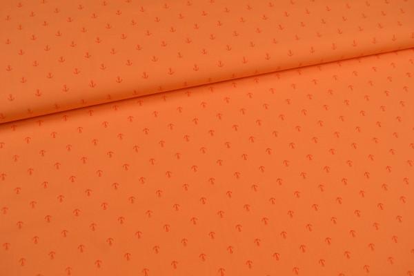 Baumwollstoff kleine Anker, orange