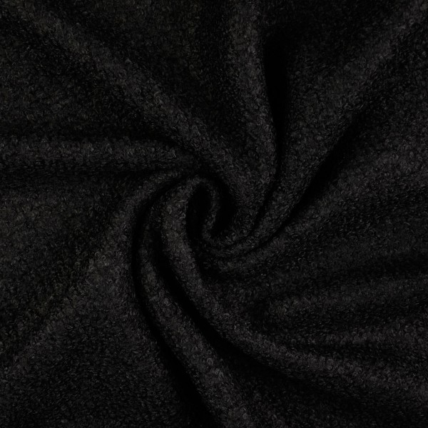 Woll Bouclé uni, schwarz