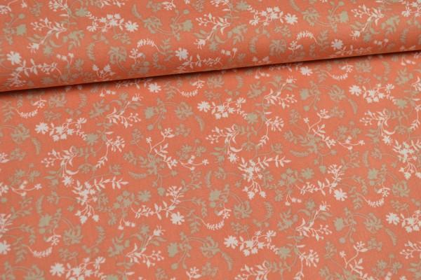 Baumwolle gemustert, florales Deign, orange