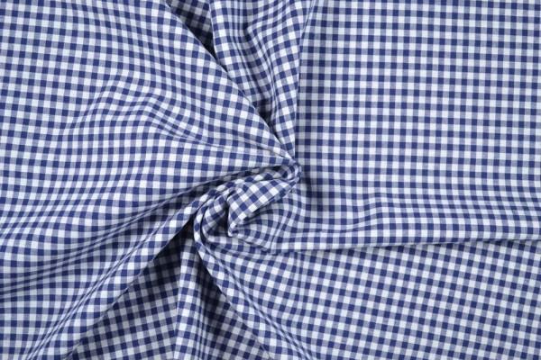 Baumwollstoff Zefir Vichy Karo, 0,5 cm, dunkelblau