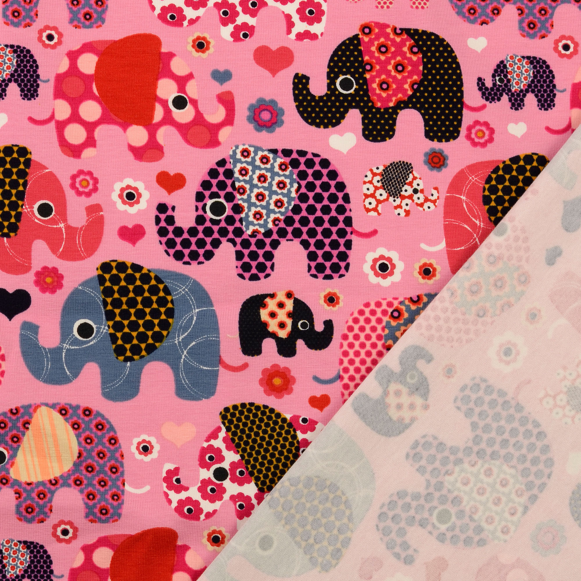 Baumwolljersey Elefanten pink Kinderstoff Preis=0,5m