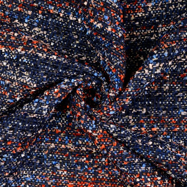 Bouclè Milliblus, meliert dunkelblau
