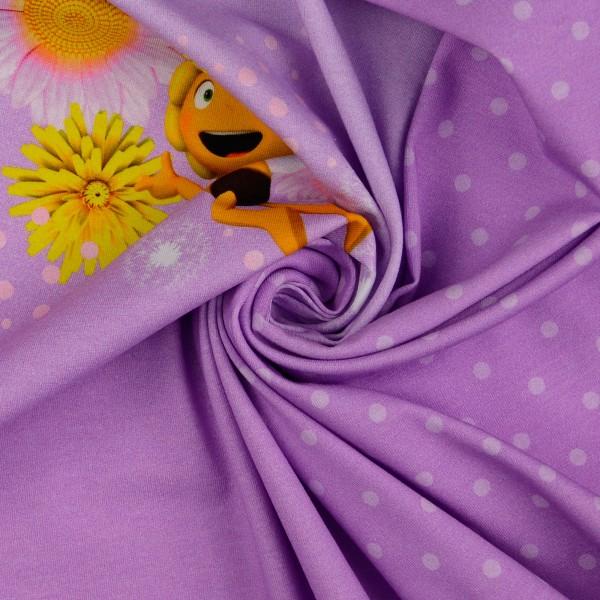 Baumwolljersey Panel Biene Maja, lila