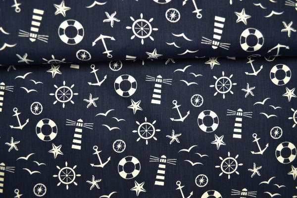 Baumwolle gemustert, maritim Anker marine