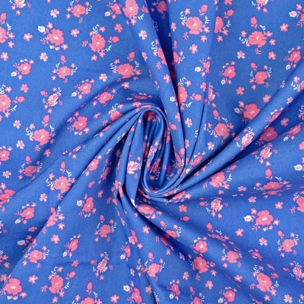 Baumwollstoff Popeline Rosen, blau