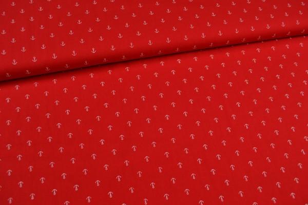 Baumwollstoff kleine Anker, rot