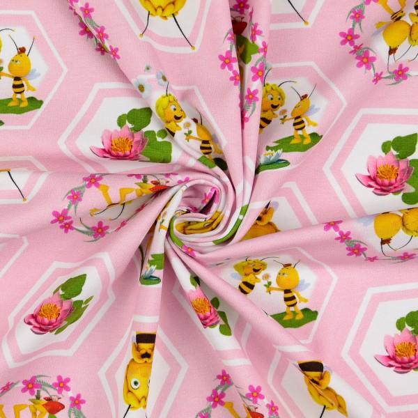 Baumwolljersey Biene Maja, rosa