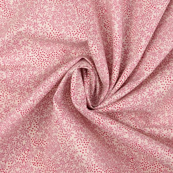Baumwollstoff Popeline Flower, rosa
