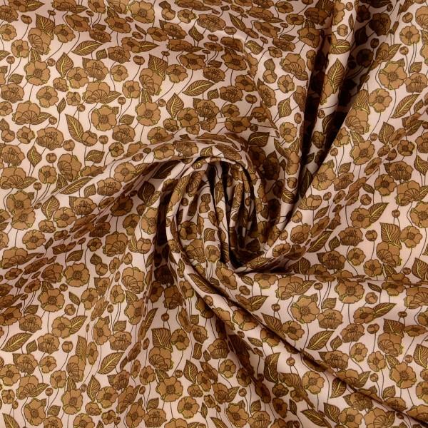 Baumwollstoff Popeline Florales Muster, beige