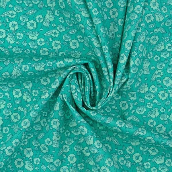 Baumwollstoff Popeline Florales Muster, tannengrün