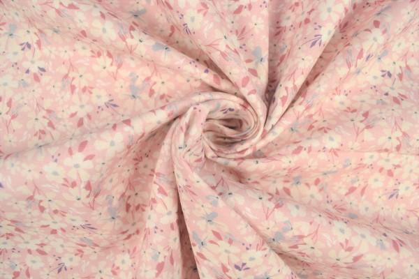 Baumwollstoff gemustert Blumenmuster, rosa