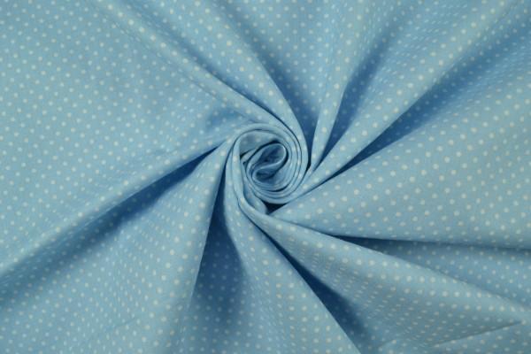Baumwollstoff gemustert Tupfen, hellblau/ weiß