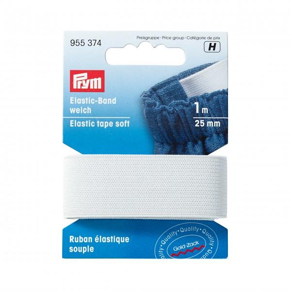 Prym Elastic-Band, weich, 25mm, 1m, weiß