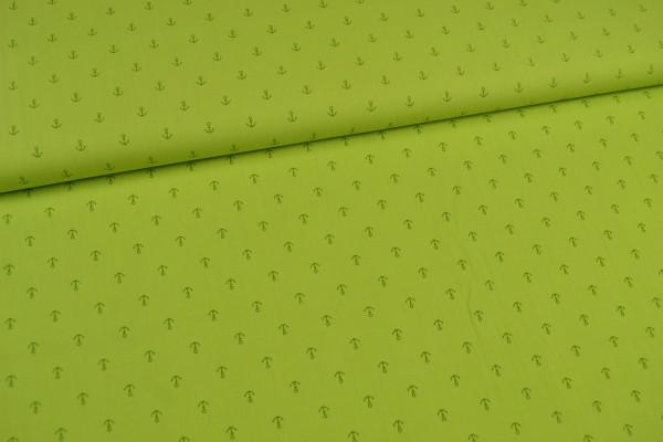 Baumwollstoff kleine Anker, kiwi/grün