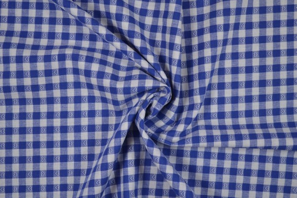 Baumwollstoff Zefir Vichy Karo Herzen, 0,9 cm, blau